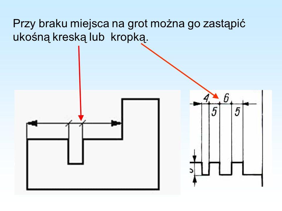 Przy braku miejsca na grot można go zastąpić ukośną kreską lub kropką.