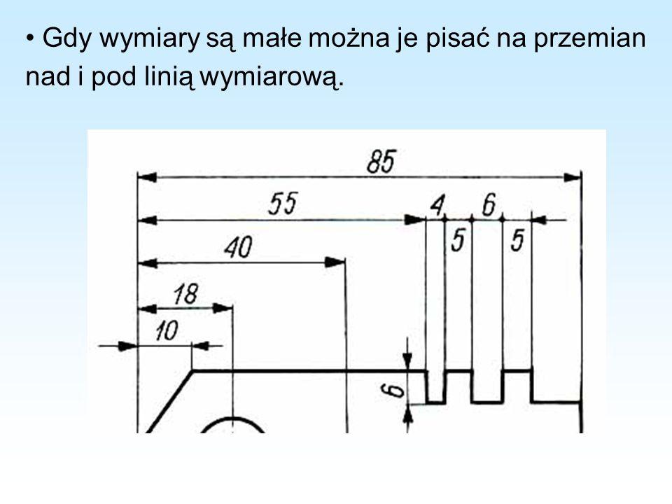 Gdy wymiary są małe można je pisać na przemian nad i pod linią wymiarową.
