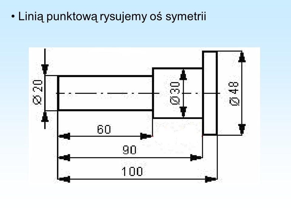 Linią punktową rysujemy oś symetrii
