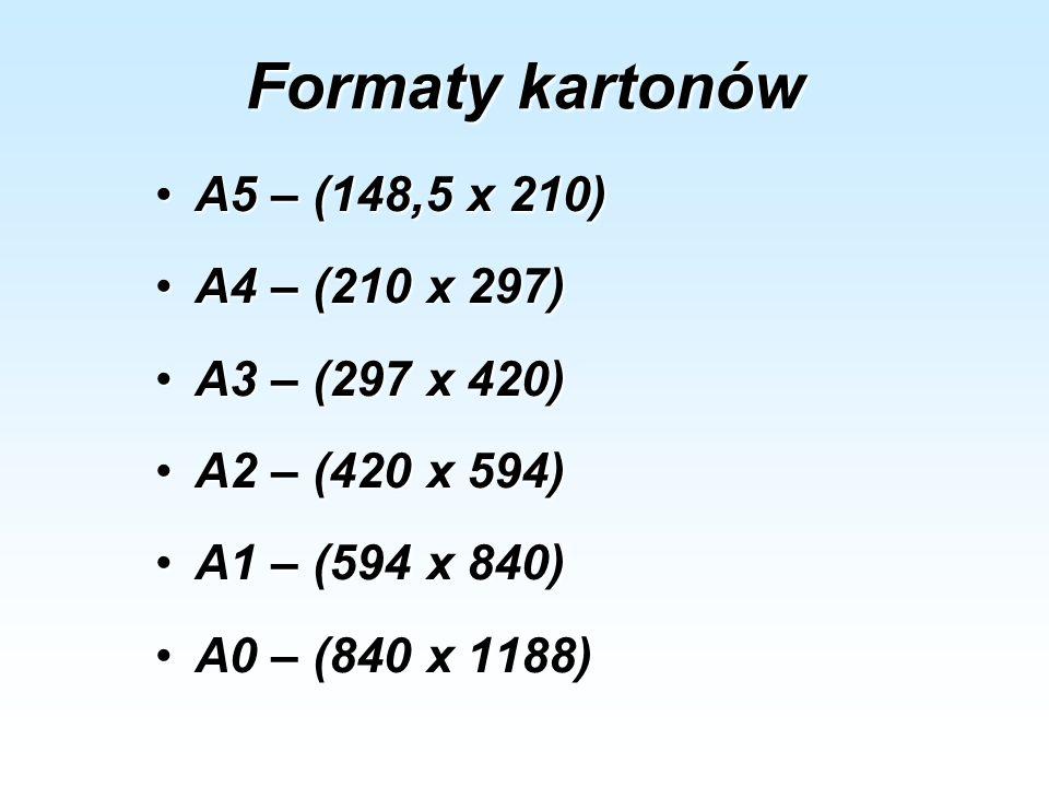Formaty kartonów A5 – (148,5 x 210)A5 – (148,5 x 210) A4 – (210 x 297)A4 – (210 x 297) A3 – (297 x 420)A3 – (297 x 420) A2 – (420 x 594)A2 – (420 x 59