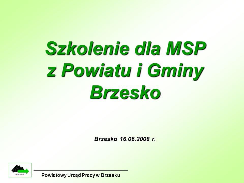 Szkolenie dla MSP z Powiatu i Gminy Brzesko Brzesko 16.06.2008 r. Powiatowy Urząd Pracy w Brzesku