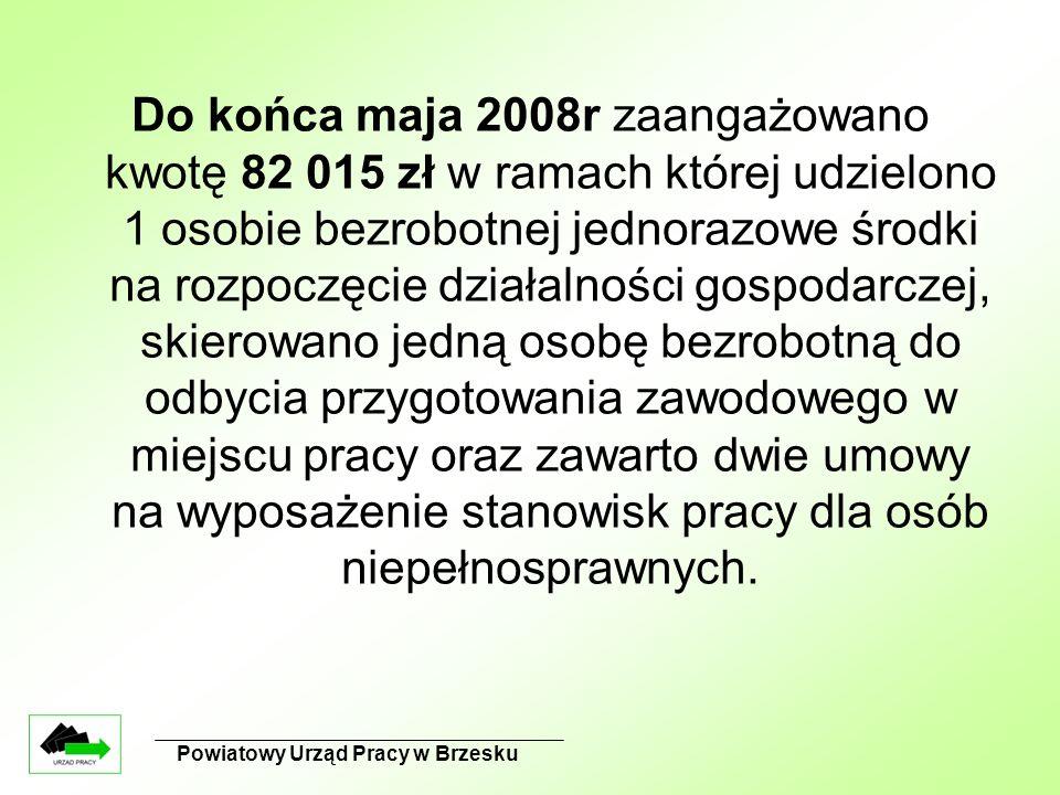 Powiatowy Urząd Pracy w Brzesku Do końca maja 2008r zaangażowano kwotę 82 015 zł w ramach której udzielono 1 osobie bezrobotnej jednorazowe środki na rozpoczęcie działalności gospodarczej, skierowano jedną osobę bezrobotną do odbycia przygotowania zawodowego w miejscu pracy oraz zawarto dwie umowy na wyposażenie stanowisk pracy dla osób niepełnosprawnych.