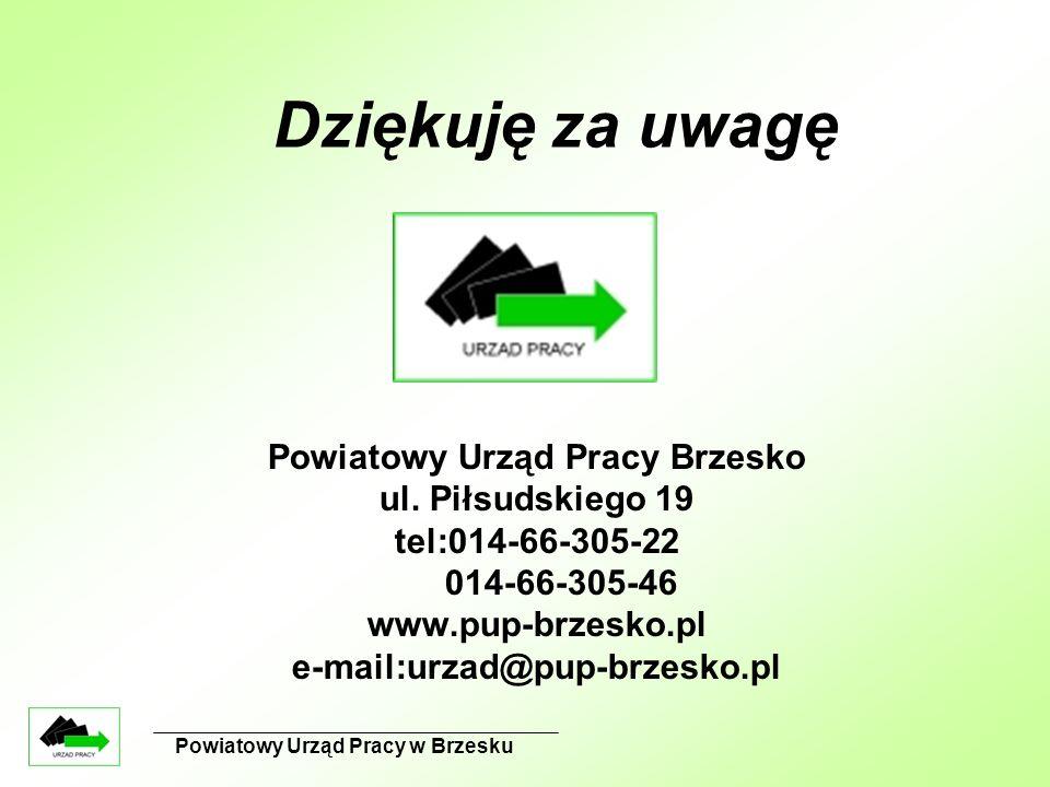 Powiatowy Urząd Pracy w Brzesku Powiatowy Urząd Pracy Brzesko ul. Piłsudskiego 19 tel:014-66-305-22 014-66-305-46 www.pup-brzesko.pl e-mail:urzad@pup-