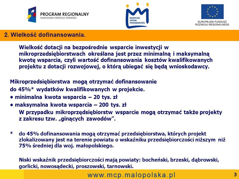 3 Wielkość dotacji na bezpośrednie wsparcie inwestycji w mikroprzedsiębiorstwach określana jest przez minimalną i maksymalną kwotę wsparcia, czyli wartość dofinansowania kosztów kwalifikowanych projektu z dotacji rozwojowej, o którą ubiegać się będą wnioskodawcy.