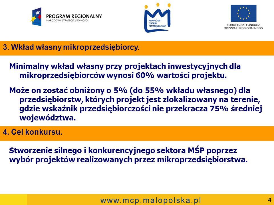5 Warunkiem uczestnictwa w konkursie naboru wniosków o dofinansowanie projektów jest złożenie przez mikroprzedsiębiorstwo wymaganej dokumentacji wraz z załącznikami we wskazanym terminie.