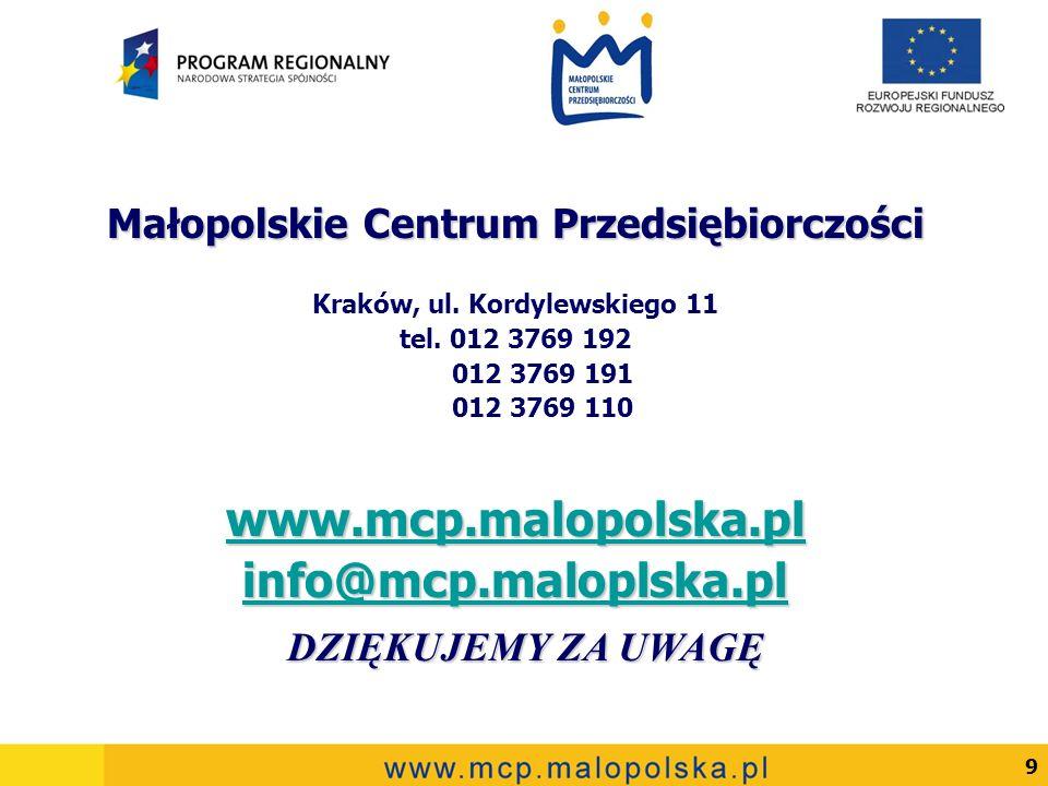 9 Małopolskie Centrum Przedsiębiorczości Kraków, ul. Kordylewskiego 11 tel. 012 3769 192 012 3769 191 012 3769 110 www.mcp.malopolska.pl info@mcp.malo
