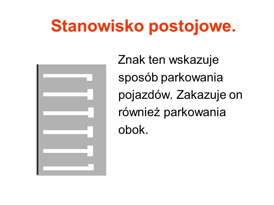 Stanowisko postojowe. Znak ten wskazuje sposób parkowania pojazdów. Zakazuje on również parkowania obok.
