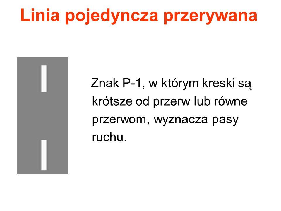 Linia pojedyncza przerywana Znak P-1, w którym kreski są krótsze od przerw lub równe przerwom, wyznacza pasy ruchu.