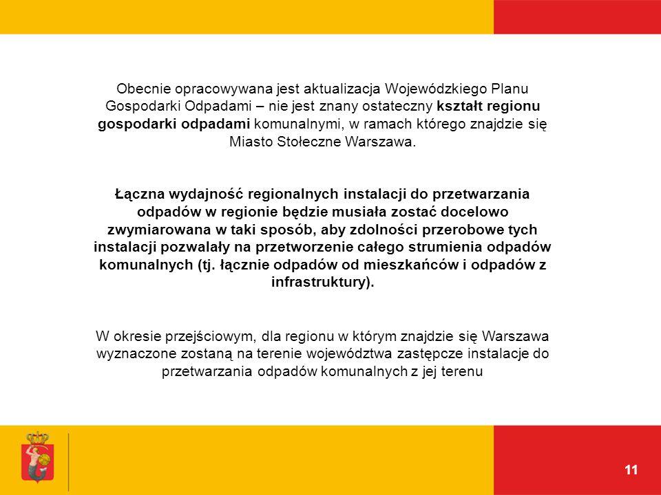 11 Obecnie opracowywana jest aktualizacja Wojewódzkiego Planu Gospodarki Odpadami – nie jest znany ostateczny kształt regionu gospodarki odpadami komu