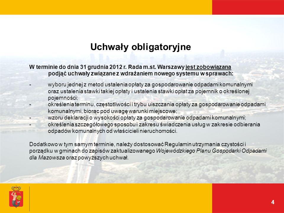 4 Uchwały obligatoryjne W terminie do dnia 31 grudnia 2012 r. Rada m.st. Warszawy jest zobowiązana podjąć uchwały związane z wdrażaniem nowego systemu