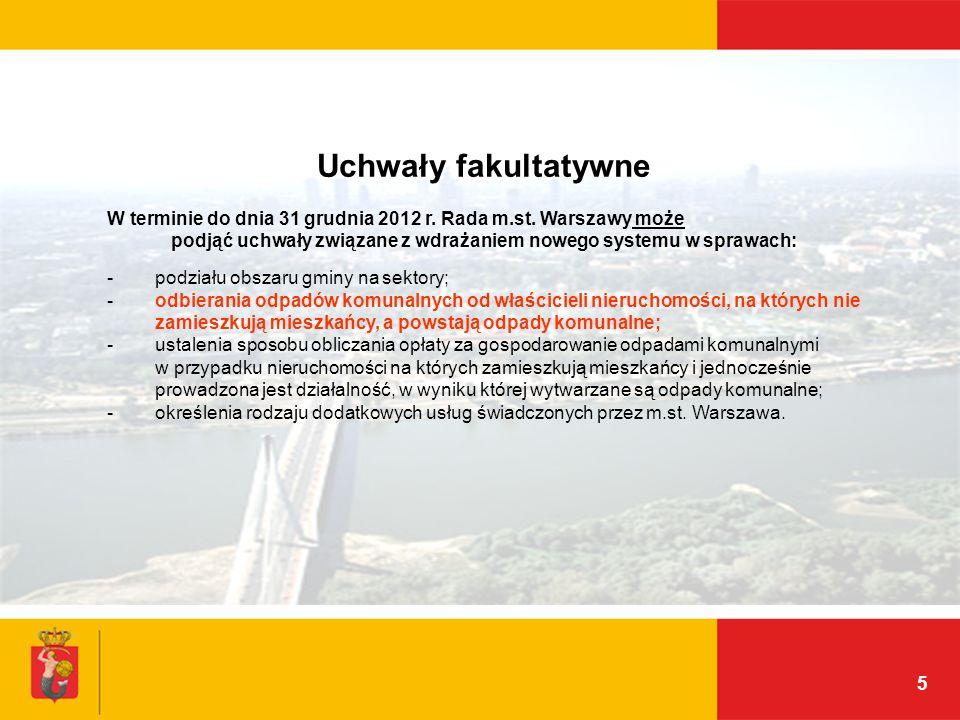 5 Uchwały fakultatywne W terminie do dnia 31 grudnia 2012 r. Rada m.st. Warszawy może podjąć uchwały związane z wdrażaniem nowego systemu w sprawach: