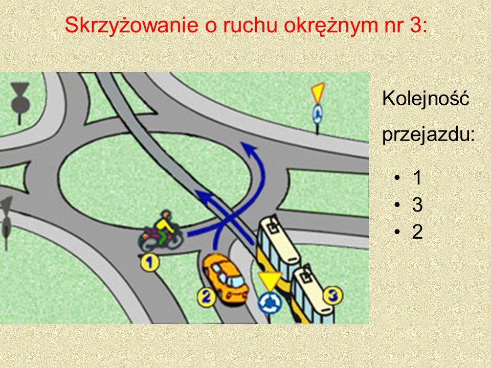 Skrzyżowanie o ruchu okrężnym nr 3: 1 3 2 Kolejność przejazdu: