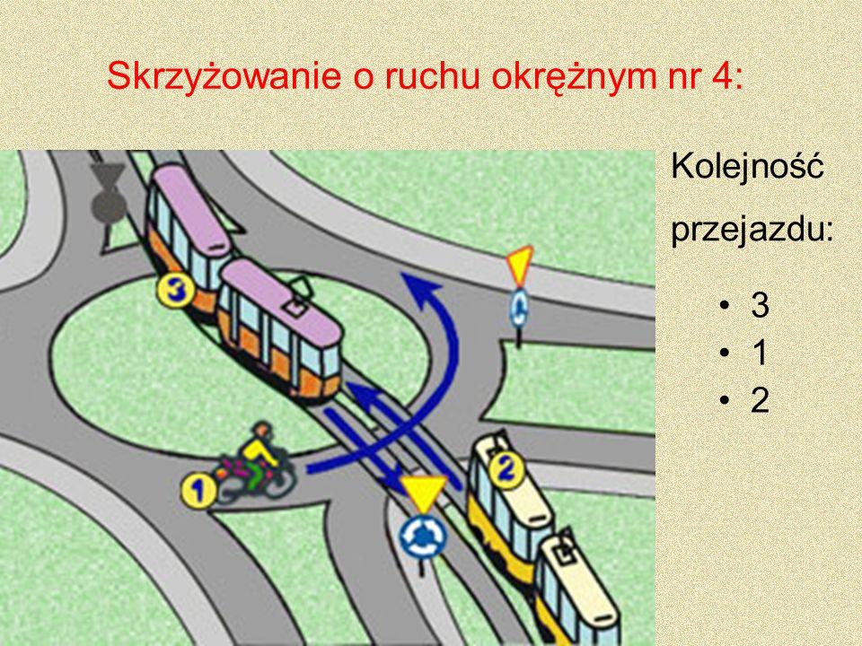 Skrzyżowanie o ruchu okrężnym nr 4: 3 1 2 Kolejność przejazdu: