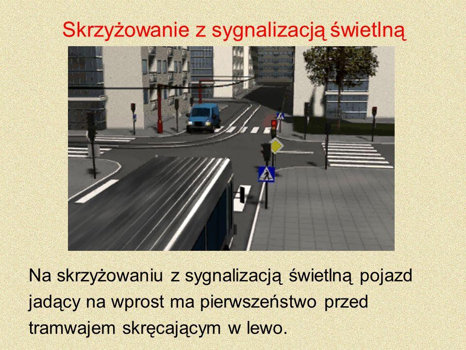Skrzyżowanie z sygnalizacją świetlną Na skrzyżowaniu z sygnalizacją świetlną pojazd jadący na wprost ma pierwszeństwo przed tramwajem skręcającym w le