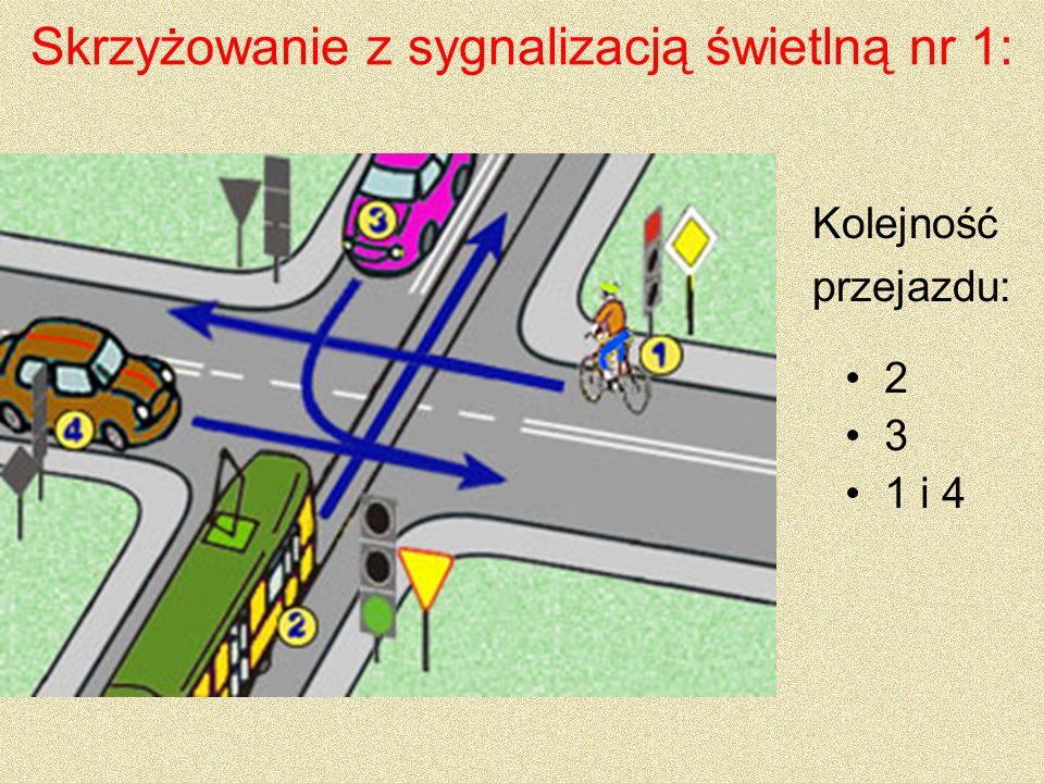 Skrzyżowanie o ruchu okrężnym nr 1: 3 1 2 Kolejność przejazdu: