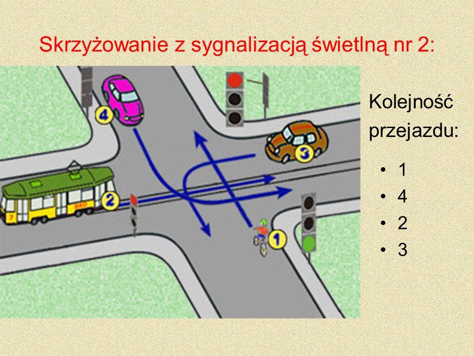 Skrzyżowanie z sygnalizacją świetlną nr 2: 1 4 2 3 Kolejność przejazdu: