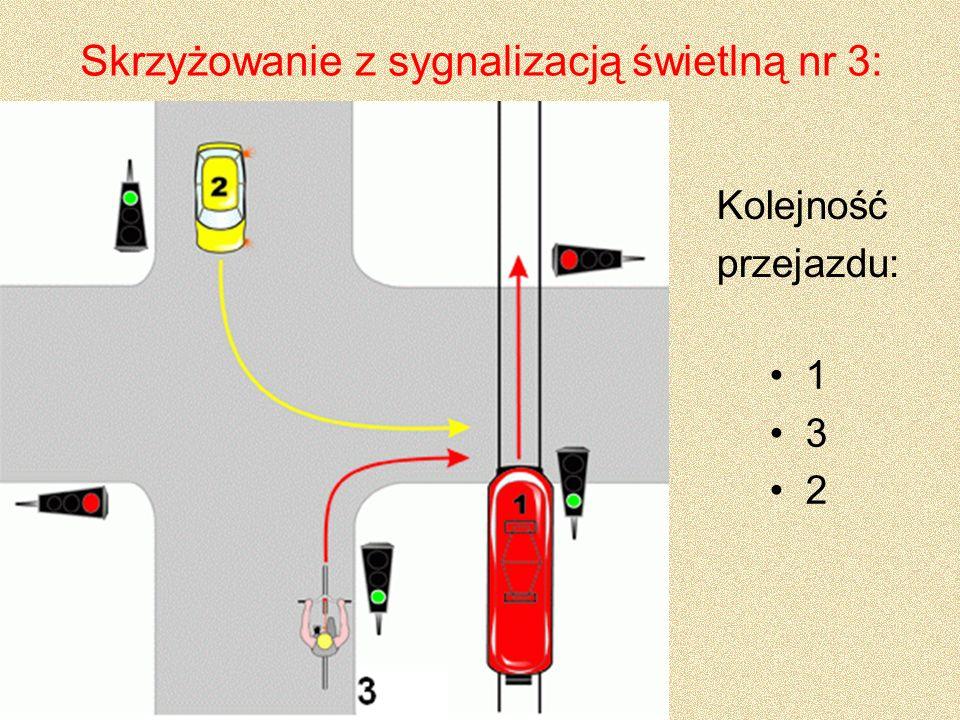 Skrzyżowanie z sygnalizacją świetlną nr 3: 1 3 2 Kolejność przejazdu: