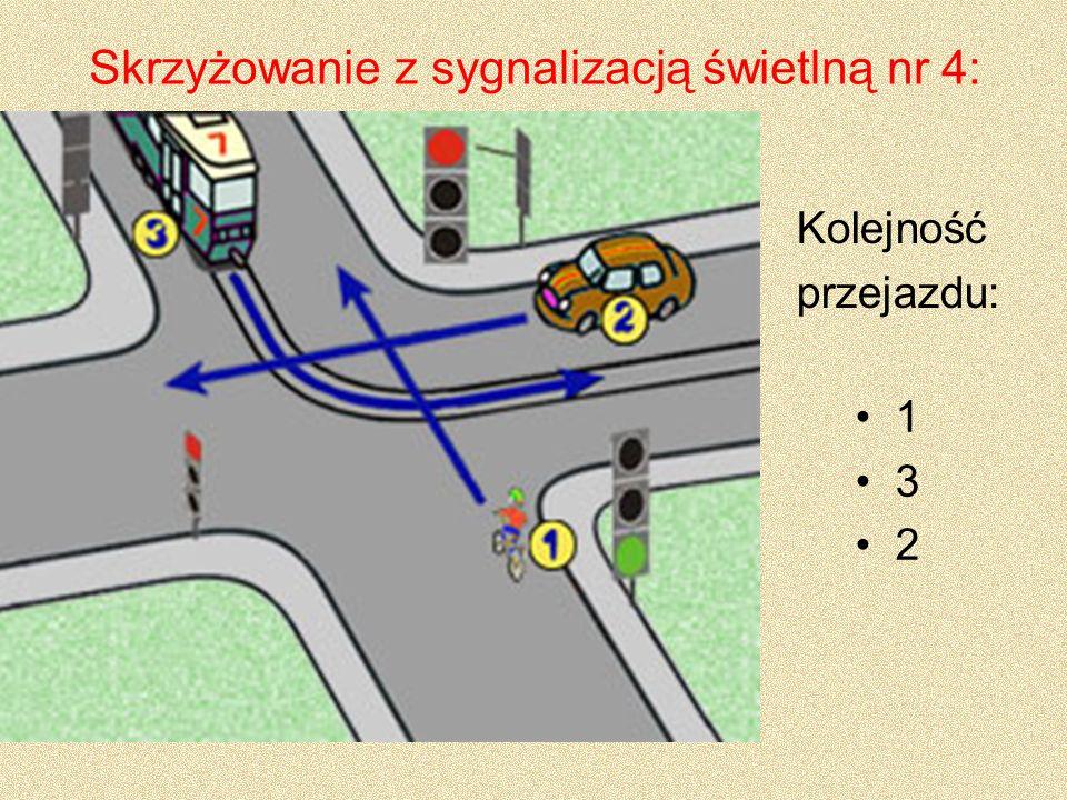 Skrzyżowanie z sygnalizacją świetlną nr 5: 1 2 3 Kolejność przejazdu: Kierujący tramwajem skręcając w prawo ustępuje pierwszeństwa przejazdu pojazdowi jadącemu na wprost.