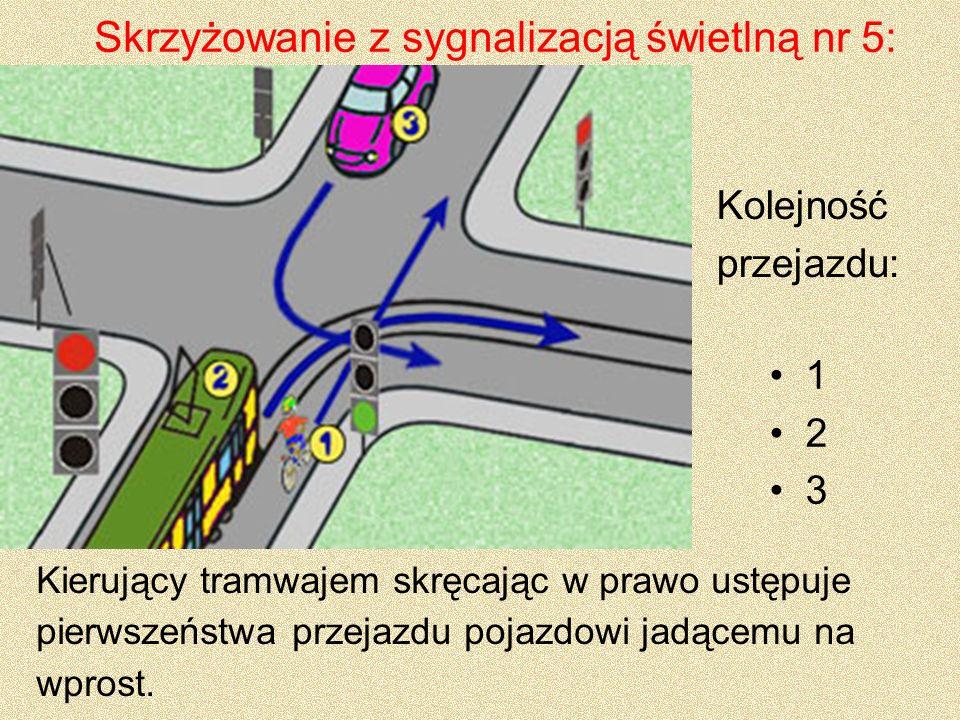 Skrzyżowanie z sygnalizacją świetlną nr 5: 1 2 3 Kolejność przejazdu: Kierujący tramwajem skręcając w prawo ustępuje pierwszeństwa przejazdu pojazdowi