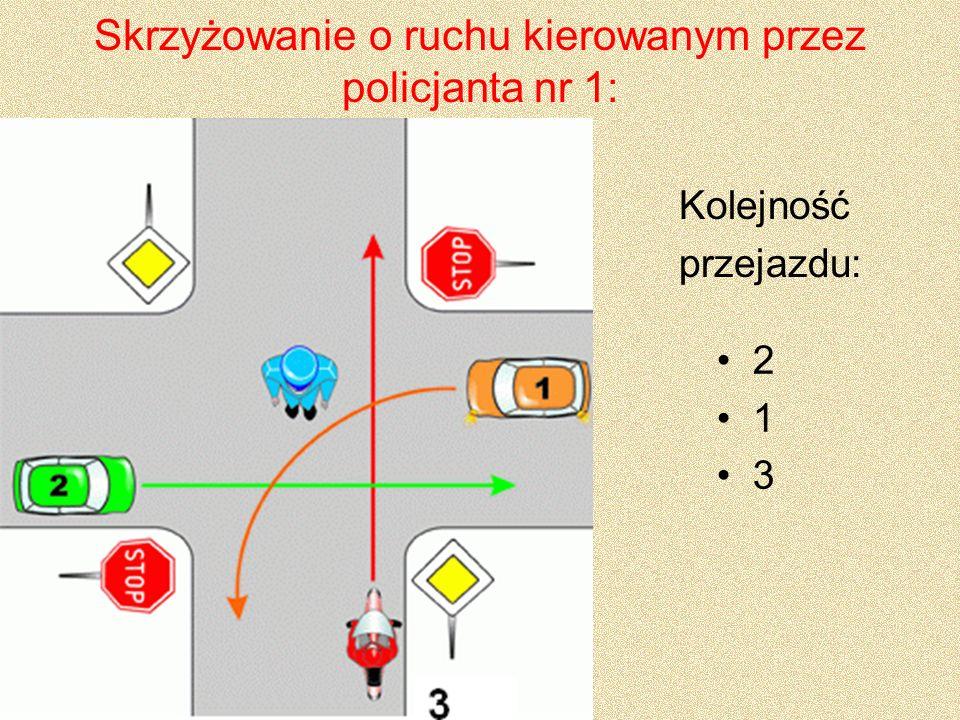 Skrzyżowanie o ruchu kierowanym przez policjanta nr 2: A B i C Kolejność przejazdu: