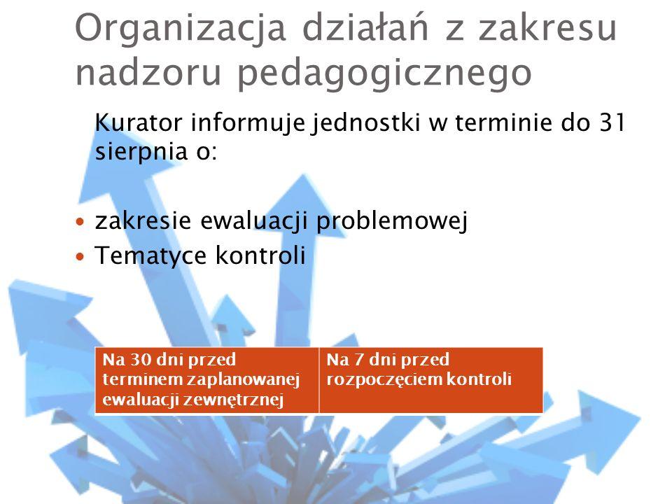 Organizacja działań z zakresu nadzoru pedagogicznego Kurator informuje jednostki w terminie do 31 sierpnia o: zakresie ewaluacji problemowej Tematyce