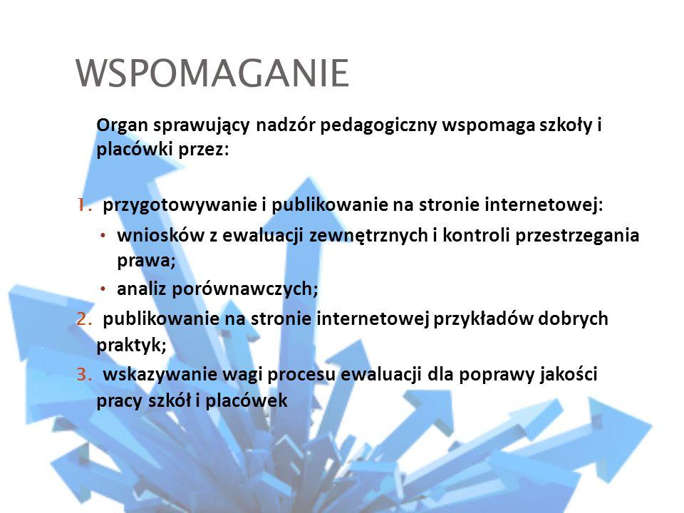 WSPOMAGANIE Organ sprawujący nadzór pedagogiczny wspomaga szkoły i placówki przez: 1.