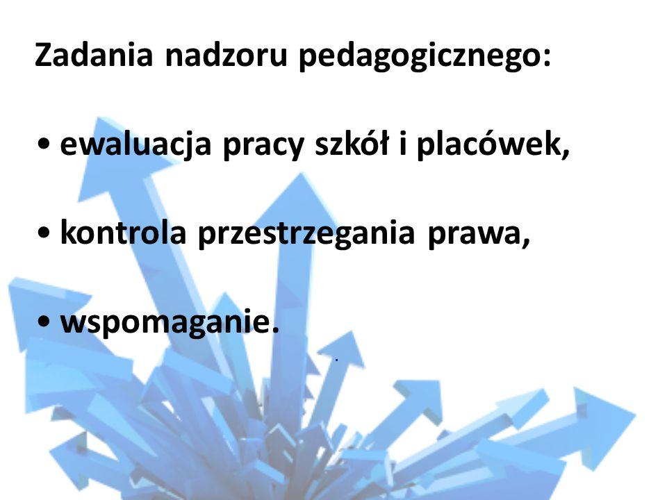 Zadania nadzoru pedagogicznego: ewaluacja pracy szkół i placówek, kontrola przestrzegania prawa, wspomaganie..