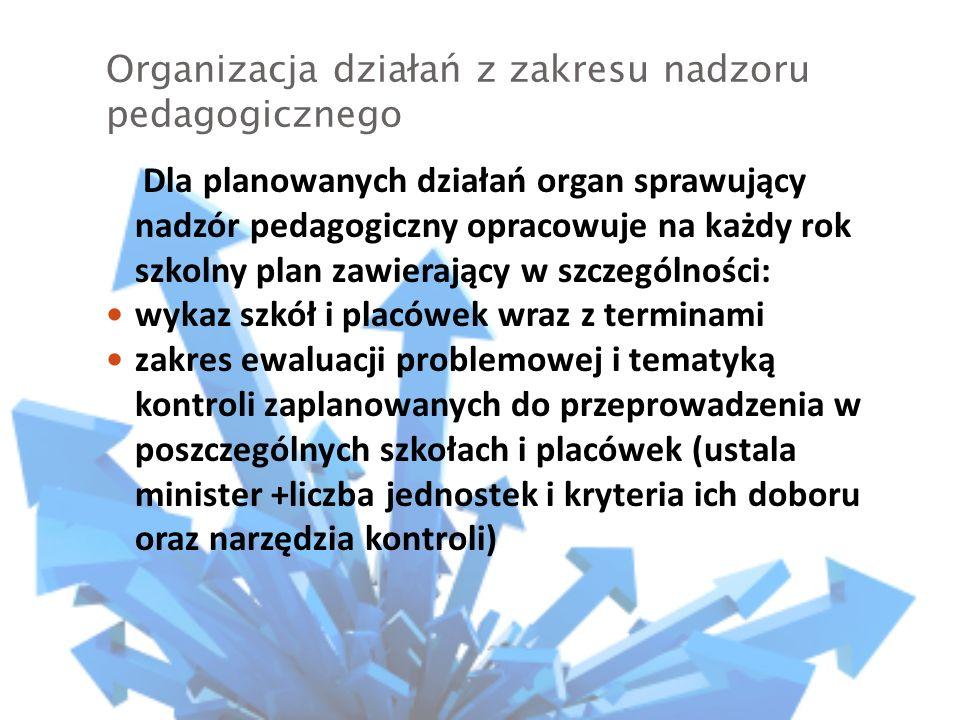 Organizacja działań z zakresu nadzoru pedagogicznego Kurator informuje jednostki w terminie do 31 sierpnia o: zakresie ewaluacji problemowej Tematyce kontroli Na 30 dni przed terminem zaplanowanej ewaluacji zewnętrznej Na 7 dni przed rozpoczęciem kontroli