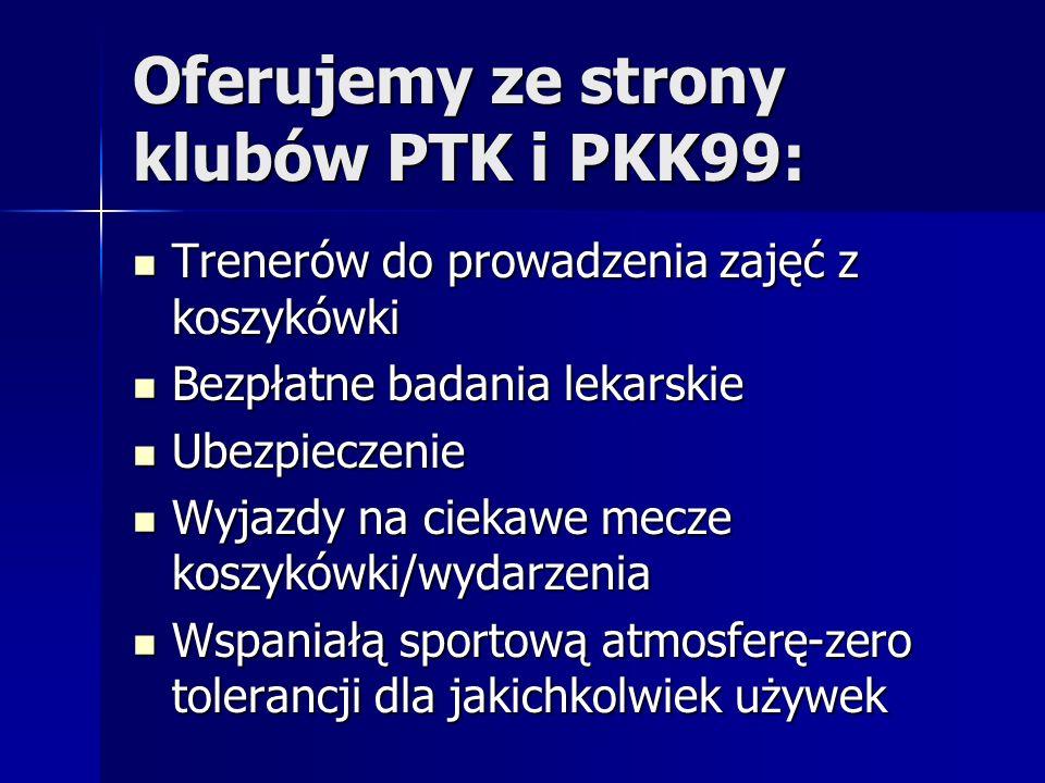 Oferujemy ze strony klubów PTK i PKK99: Trenerów do prowadzenia zajęć z koszykówki Trenerów do prowadzenia zajęć z koszykówki Bezpłatne badania lekars