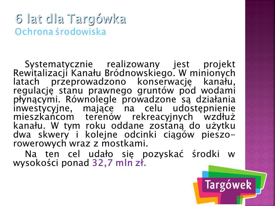 Systematycznie realizowany jest projekt Rewitalizacji Kanału Bródnowskiego. W minionych latach przeprowadzono konserwację kanału, regulację stanu praw