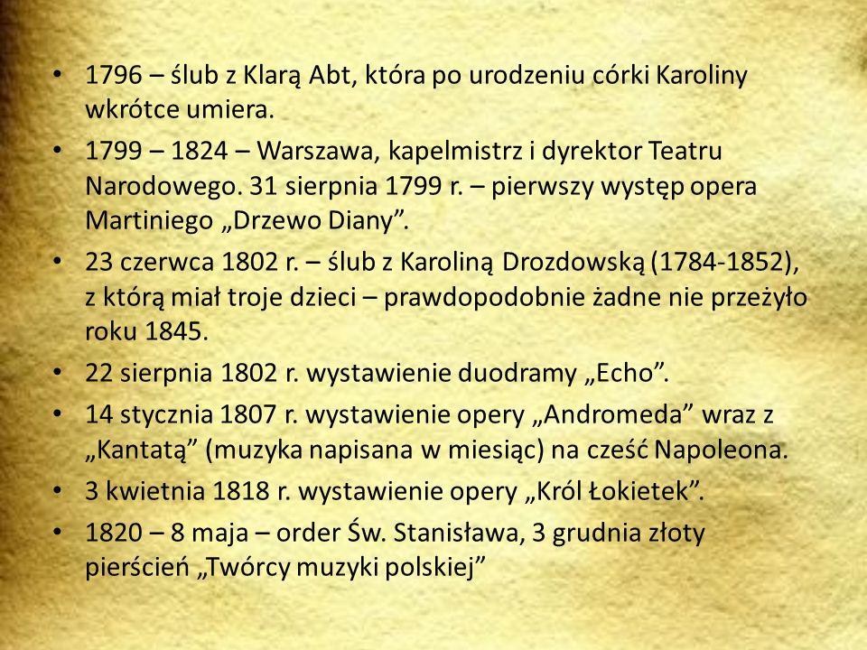 1796 – ślub z Klarą Abt, która po urodzeniu córki Karoliny wkrótce umiera. 1799 – 1824 – Warszawa, kapelmistrz i dyrektor Teatru Narodowego. 31 sierpn