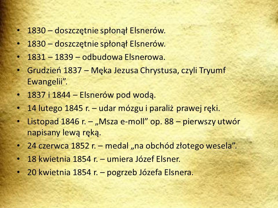1830 – doszczętnie spłonął Elsnerów. 1831 – 1839 – odbudowa Elsnerowa. Grudzień 1837 – Męka Jezusa Chrystusa, czyli Tryumf Ewangelii. 1837 i 1844 – El