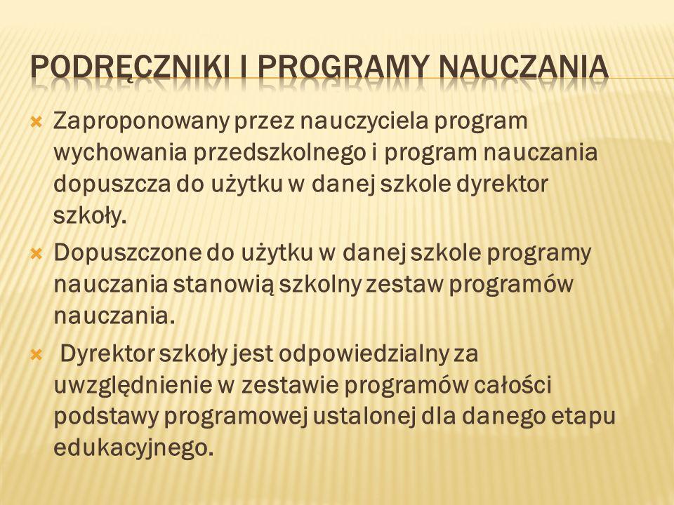 Zaproponowany przez nauczyciela program wychowania przedszkolnego i program nauczania dopuszcza do użytku w danej szkole dyrektor szkoły. Dopuszczone