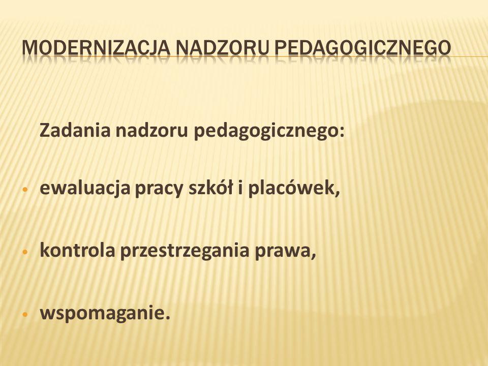 Zadania nadzoru pedagogicznego: ewaluacja pracy szkół i placówek, kontrola przestrzegania prawa, wspomaganie.