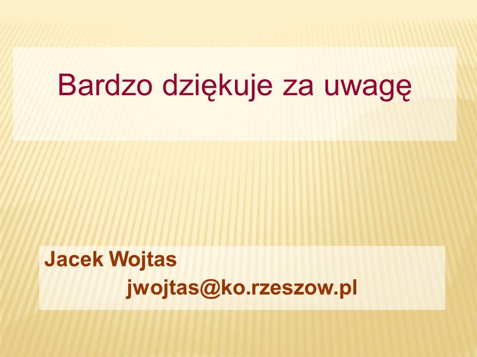 Jacek Wojtas jwojtas@ko.rzeszow.pl Bardzo dziękuje za uwagę
