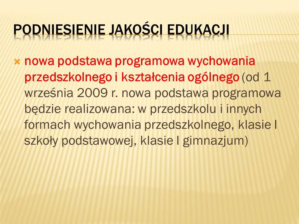 nowa podstawa programowa wychowania przedszkolnego i kształcenia ogólnego (od 1 września 2009 r. nowa podstawa programowa będzie realizowana: w przeds