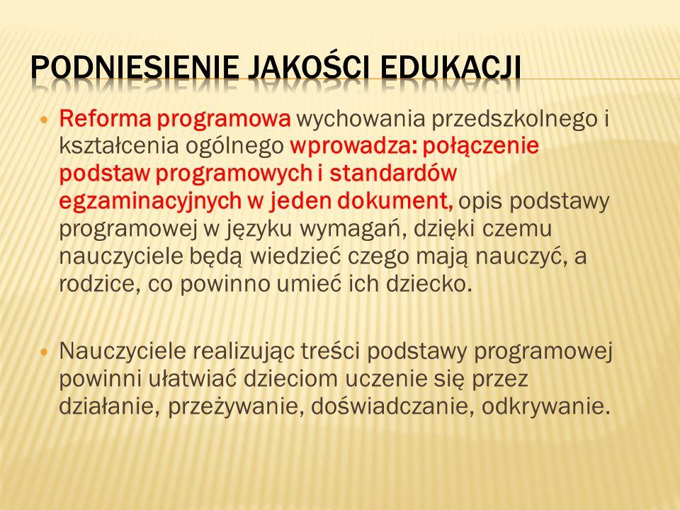 Reforma programowa wychowania przedszkolnego i kształcenia ogólnego wprowadza: połączenie podstaw programowych i standardów egzaminacyjnych w jeden do
