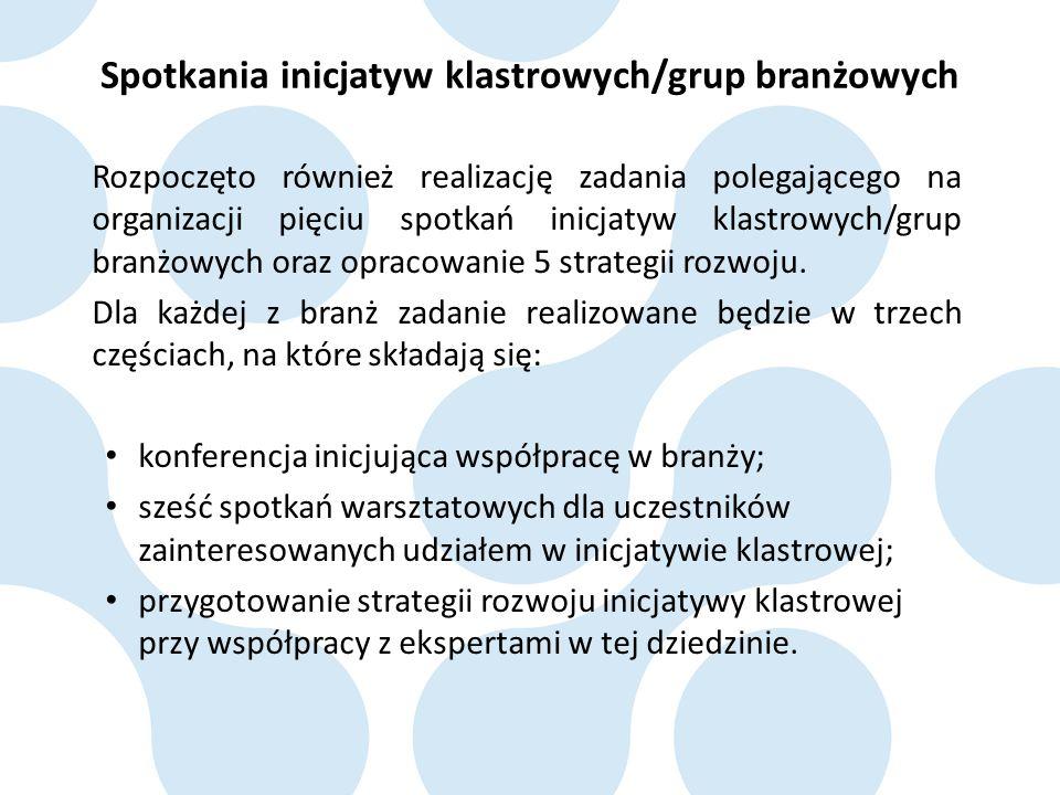 Rozpoczęto również realizację zadania polegającego na organizacji pięciu spotkań inicjatyw klastrowych/grup branżowych oraz opracowanie 5 strategii ro