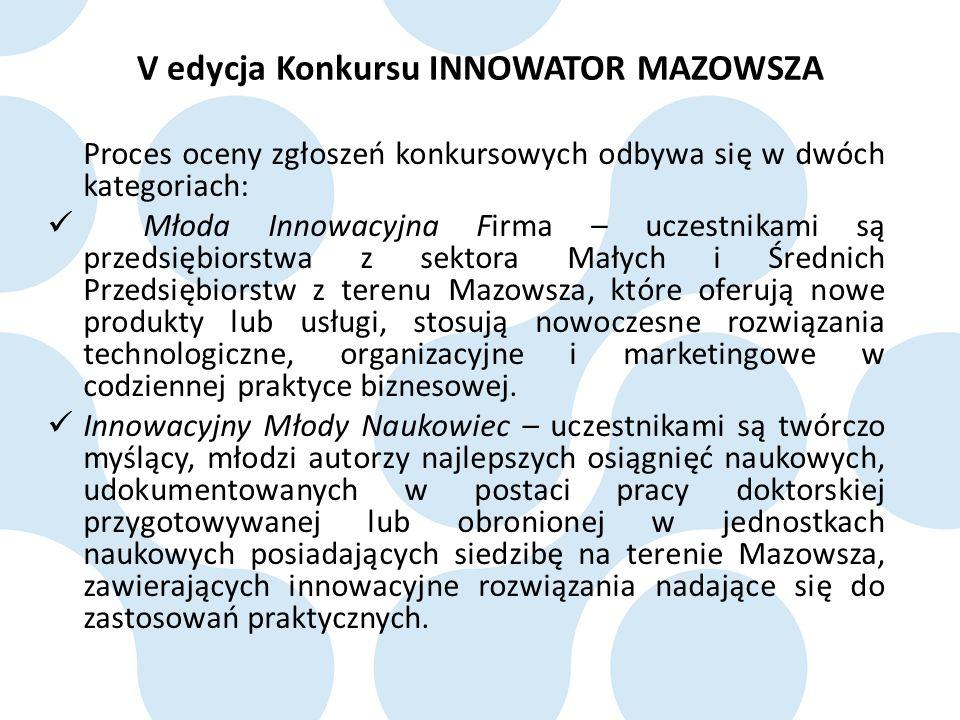 Proces oceny zgłoszeń konkursowych odbywa się w dwóch kategoriach: Młoda Innowacyjna Firma – uczestnikami są przedsiębiorstwa z sektora Małych i Średnich Przedsiębiorstw z terenu Mazowsza, które oferują nowe produkty lub usługi, stosują nowoczesne rozwiązania technologiczne, organizacyjne i marketingowe w codziennej praktyce biznesowej.