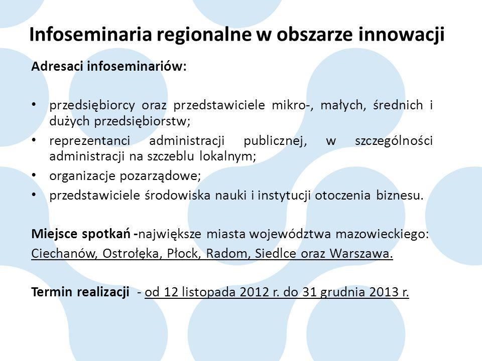 Infoseminaria regionalne w obszarze innowacji Adresaci infoseminariów: przedsiębiorcy oraz przedstawiciele mikro-, małych, średnich i dużych przedsięb