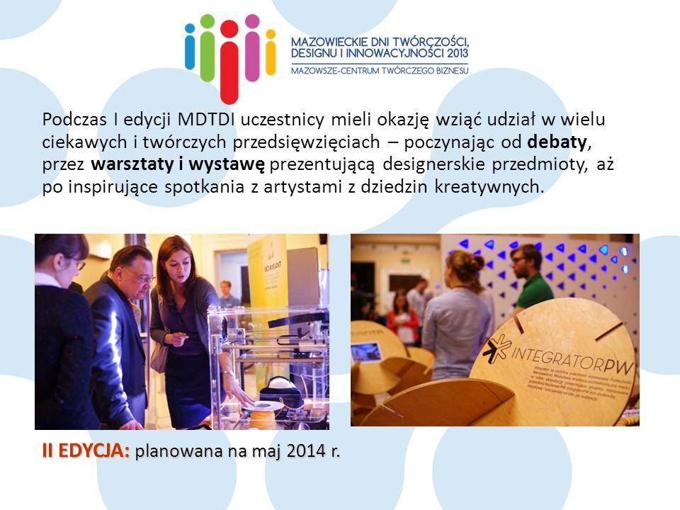 Podczas I edycji MDTDI uczestnicy mieli okazję wziąć udział w wielu ciekawych i twórczych przedsięwzięciach – poczynając od debaty, przez warsztaty i wystawę prezentującą designerskie przedmioty, aż po inspirujące spotkania z artystami z dziedzin kreatywnych.