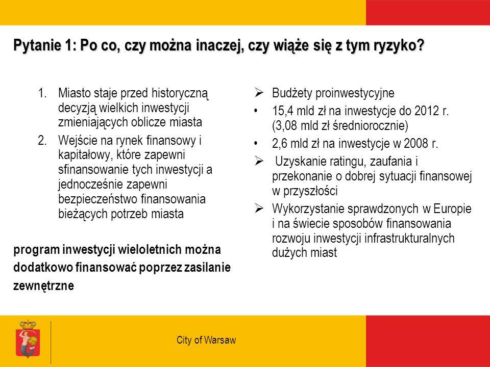 City of Warsaw Pytanie 1: Po co, czy można inaczej, czy wiąże się z tym ryzyko.