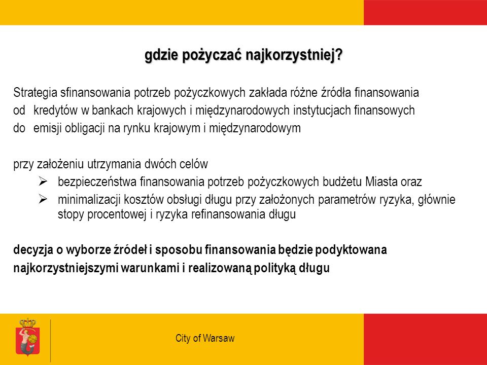 City of Warsaw gdzie pożyczać najkorzystniej.