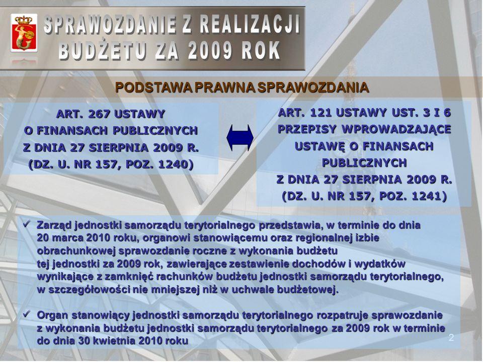 2 PODSTAWA PRAWNA SPRAWOZDANIA ART. 267 USTAWY O FINANSACH PUBLICZNYCH Z DNIA 27 SIERPNIA 2009 R.