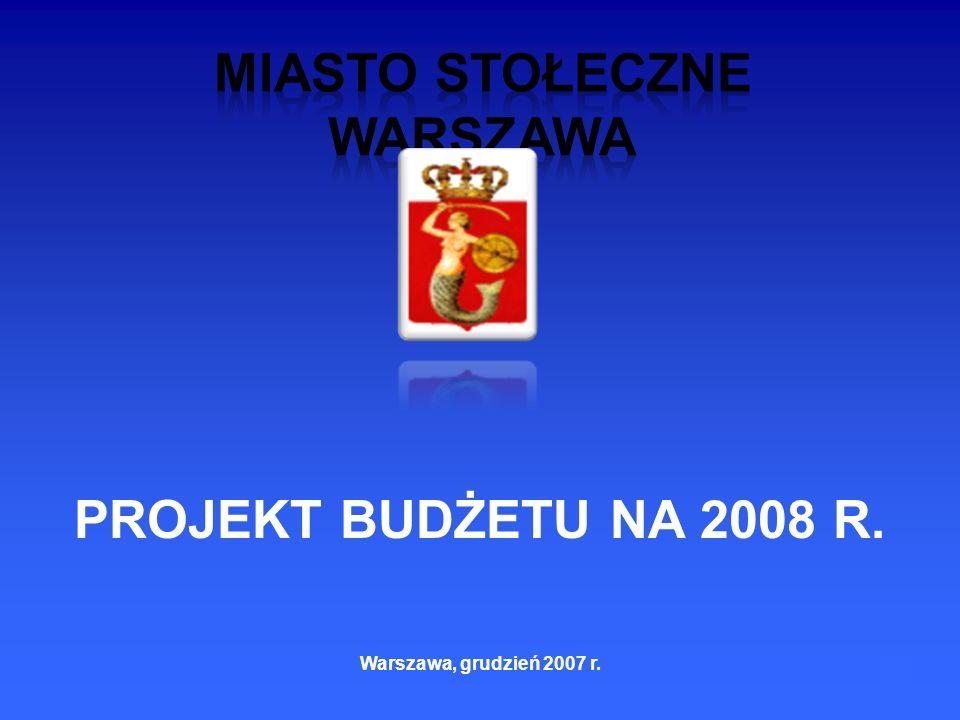 1 PROJEKT BUDŻETU NA 2008 R. Warszawa, grudzień 2007 r.