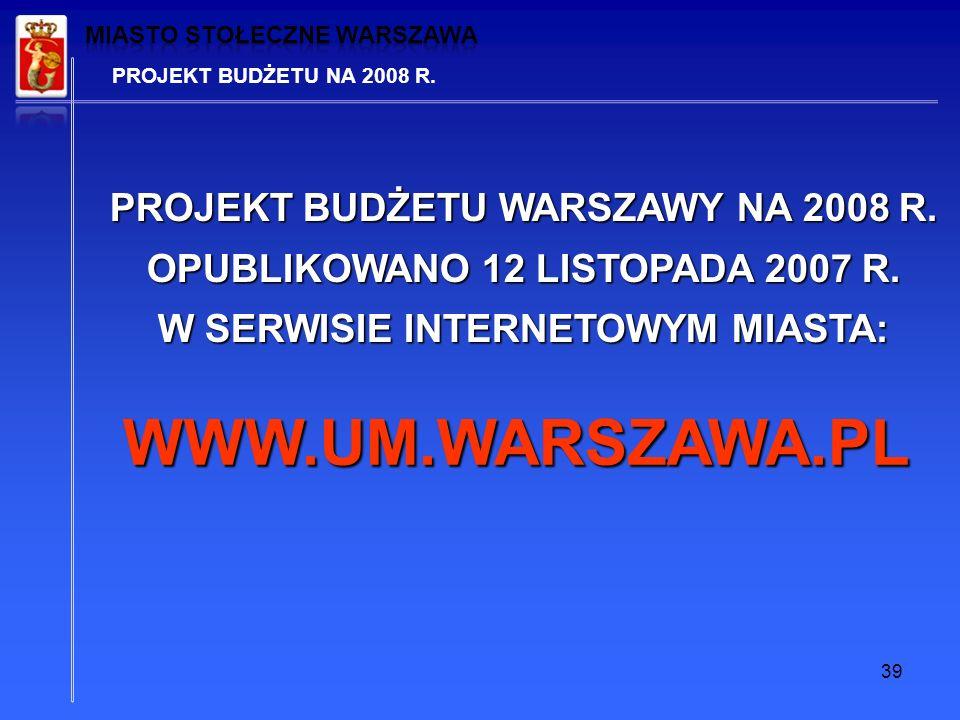 39 PROJEKT BUDŻETU NA 2008 R. PROJEKT BUDŻETU WARSZAWY NA 2008 R.