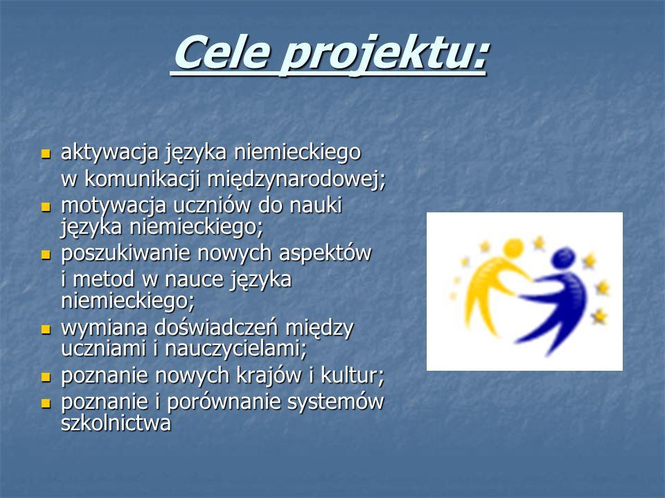Cele projektu: aktywacja języka niemieckiego aktywacja języka niemieckiego w komunikacji międzynarodowej; w komunikacji międzynarodowej; motywacja ucz