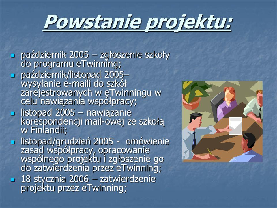 Powstanie projektu: październik 2005 – zgłoszenie szkoły do programu eTwinning; październik 2005 – zgłoszenie szkoły do programu eTwinning; październik/listopad 2005– wysyłanie e-maili do szkół zarejestrowanych w eTwinningu w celu nawiązania współpracy; październik/listopad 2005– wysyłanie e-maili do szkół zarejestrowanych w eTwinningu w celu nawiązania współpracy; listopad 2005 – nawiązanie korespondencji mail-owej ze szkołą w Finlandii; listopad 2005 – nawiązanie korespondencji mail-owej ze szkołą w Finlandii; listopad/grudzień 2005 - omówienie zasad współpracy, opracowanie wspólnego projektu i zgłoszenie go do zatwierdzenia przez eTwinning; listopad/grudzień 2005 - omówienie zasad współpracy, opracowanie wspólnego projektu i zgłoszenie go do zatwierdzenia przez eTwinning; 18 stycznia 2006 – zatwierdzenie projektu przez eTwinning; 18 stycznia 2006 – zatwierdzenie projektu przez eTwinning;