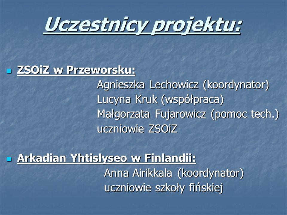 Uczestnicy projektu: ZSOiZ w Przeworsku: ZSOiZ w Przeworsku: Agnieszka Lechowicz (koordynator) Agnieszka Lechowicz (koordynator) Lucyna Kruk (współpra
