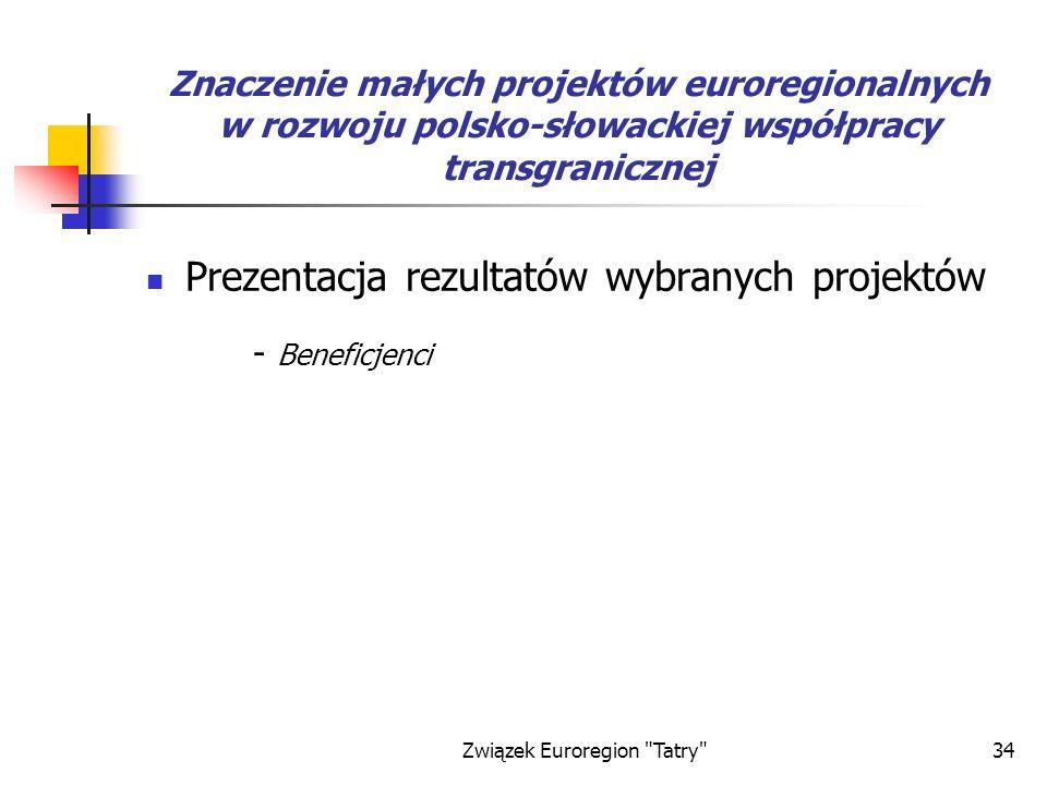 Związek Euroregion Tatry 34 Znaczenie małych projektów euroregionalnych w rozwoju polsko-słowackiej współpracy transgranicznej Prezentacja rezultatów wybranych projektów - Beneficjenci